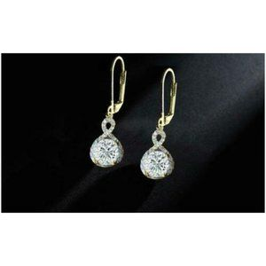 Jewelry - 14K Yellow Gold Plated Infinity Crystal Earrings